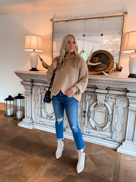Nordstrom sweater on sale! size down one. jeans are tts and fit amazingly. Booties on sale at the rack and I sized up 1/2 fall outfit   #LTKsalealert #LTKstyletip #LTKSeasonal