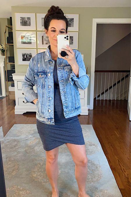 Today's #ootd   http://liketk.it/3gfEC #liketkit @liketoknow.it . . . #wiw #nordstrom #denimjacket #jeanjacket #oldnavy #casualstyle #rucheddress #lotd #bumpstyle #pregnant #pregnancyoutfit #maternity #dress #summerstyle