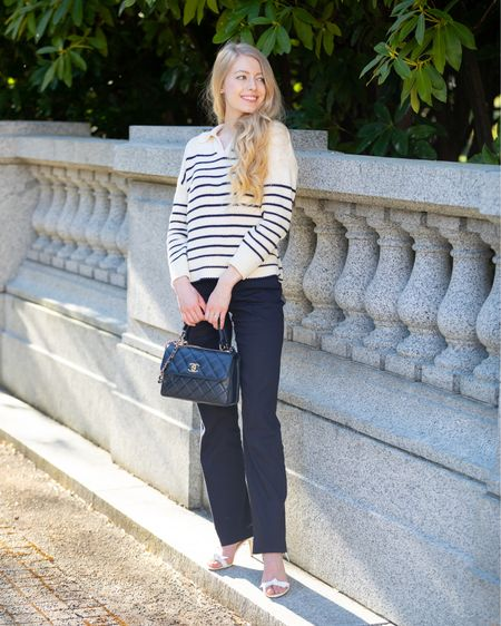 Navy and white striped sweater with collar. Perfect for spring and summer. Nautical old money style. Paired with navy trousers, white tie heels.  Alex mill, Nordstrom signature Chanel trendy cc small.   #LTKSeasonal #LTKeurope #LTKshoecrush