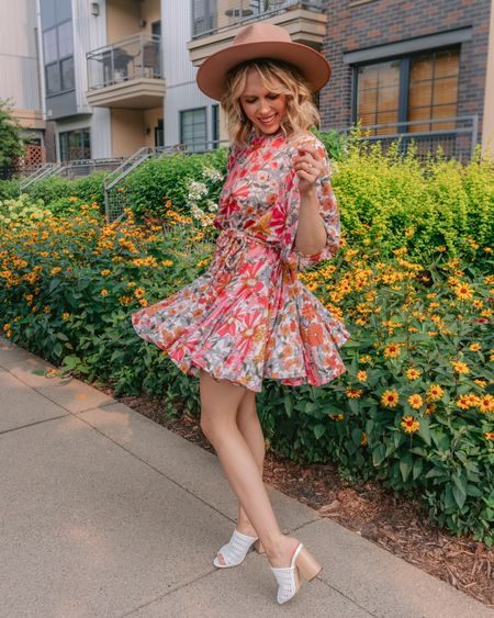 Trying to twirl into fall way too early like 💃🏼💃🏼💃🏼 It's that time of year when we are all itching to sweat in our sweaters! This fun fall floral dress is letting add those warm colors to my look I've been craving, without the heat 🍂 Anyone else in the mood to grab a PSL and stick up on some fall candles?  . . .   #LTKunder50 #LTKSeasonal #LTKstyletip