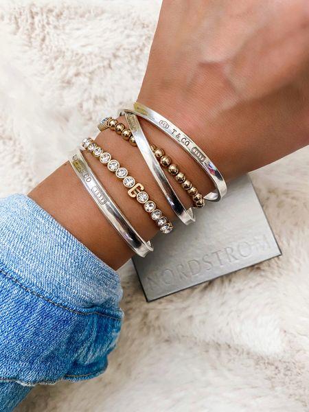 BaubleBar Initial Crystal Stretch Bracelet on sale for the NSale. Great gift idea to grab now and save for the holidays!   #LTKunder50 #LTKsalealert