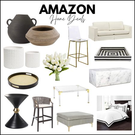 Amazon home, Amazon finds, Amazon furniture, white sofa, neutral sofa, side table, and table, barstools, counter stool, spring decor, tulips, flowers, coffee table, marble table, tray, black-and-white home, neutral home, gray home, ottoman, planter, duvet, bedding, black-and-white bedroom, Safavieh, end table   #LTKsalealert #LTKstyletip #LTKhome http://liketk.it/3dFuc #liketkit @liketoknow.it