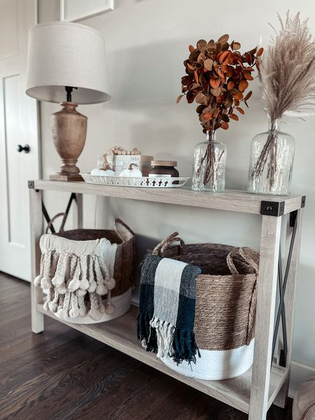 Walmart home, home decor, fall home decor, baskets, Walmart, blankets, entry table    #LTKhome #LTKunder50 #LTKSeasonal