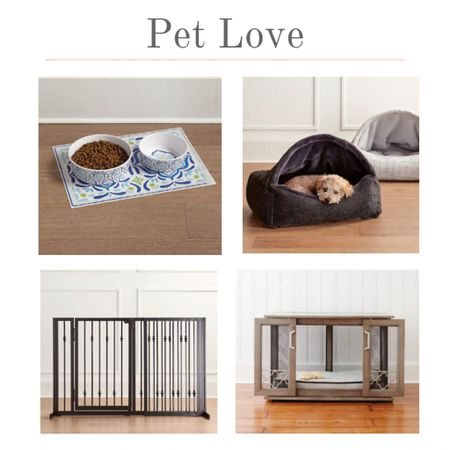Cuddly pet beds, melamine pet dishes, stylish pets gates, and beautiful pet cages. Keep your pets safe and happy.  #kimbentley #pet #dogbed  #LTKhome #LTKsalealert #LTKDay