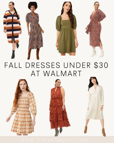 Fall dresses @Walmart all under $30 #WalmartFashion #WalmartDresses #LTKFALL   #LTKSeasonal #LTKcurves #LTKSale
