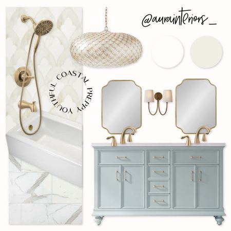 The coastal kid's bath of my dreams ☁️ This adorable light blue 60 inch vanity is on sale right now for under $1600!   Shop my daily looks by following me on LIKEtoKNOW.it!! 🌴 http://liketk.it/3j9Ip #liketkit @liketoknow.it @liketoknow.it.home #LTKhome #LTKsalealert #LTKkids   coastal bath, Jack and Jill bath, Blue jack and Jill bath, blue feminine bath, blue feminine space, nautical kids bath, beach house bath, mint gold bath, light blue gold bath, scalloped gold mirror, calacatta gold marble tile, 12x24 calacatta gold tile, calacatta mosaic tile, scalloped chandelier, Benjamin Moore white dove, white dove bathroom, delta Arlo, delta champagne bronze, nautical chandelier, two arm sconce, brass two arm sconce, 60 inch double sink vanity, 5 foot double sink vanity, blue double sink vanity, blue vanity gold pulls, blue vanity gold knobs, blue vanity brass pulls, blue vanity brass knobs, mint vanity, sea glass vanity, sea glass bathroom, aqua bathroom, aqua vanity, double vanity two mirrors, double sink two mirrors, gold detachable showerhead, brass detachable showerhead, handheld showerhead, low profile bathtub, 60x30 alcove tub, low bathtub, 12x24 real marble tile, 12x24 marble tile floor, marble tile floor, marble tile shower, gold tile shower, Kohler bellwether, capiz scalloped chandelier, capiz chandelier, Charlotte vanity, Finnish green vanity, blue green vanity, preppy bath, New England bath, blue kids bath, blue children's bath, children's nautical bath, children's coastal bath