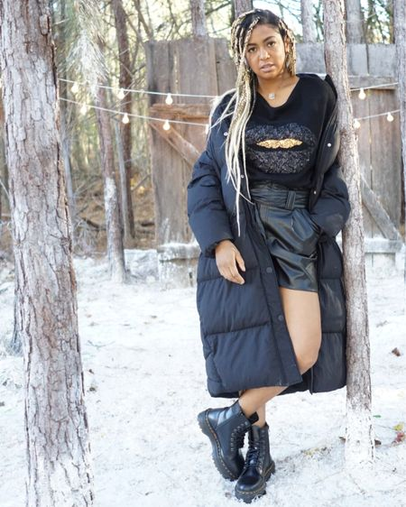 Leather Paperbag Shorts with Black Sequined Top and Platform Dr Martens  http://liketk.it/33WgH #liketkit @liketoknow.it