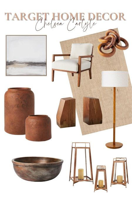 Neutral target home decor! Shop this whole room inspo for the cozy, natural home.  | target | target home | target decor | neutral decor | wood decor | teak | accent chair | lighting | brown decor | rustic home | modern home | cozy home | living room | bedroom | home office | affordable home decor | affordable decor |   #LTKstyletip #LTKhome