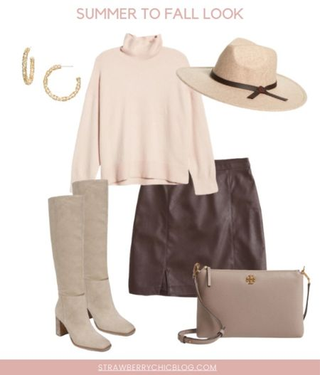 Summer to fall look- pair a turtleneck with a faux leather skirt and boots   #LTKshoecrush #LTKstyletip #LTKSeasonal
