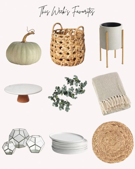 Home decor, favorites, most popular, baskets, placemats, planter, pumpkins, garland, cake stand, plates, throw blanket   #LTKhome #LTKstyletip #LTKunder50