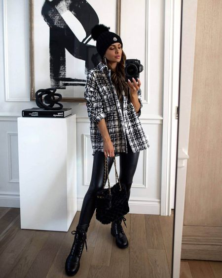 Fall outfit ideas / hiking outfit  Goodnight Macaroon tweed shacket Commando Faux Leather Leggings  Chanel combat boots   #LTKSeasonal #LTKstyletip #LTKunder100