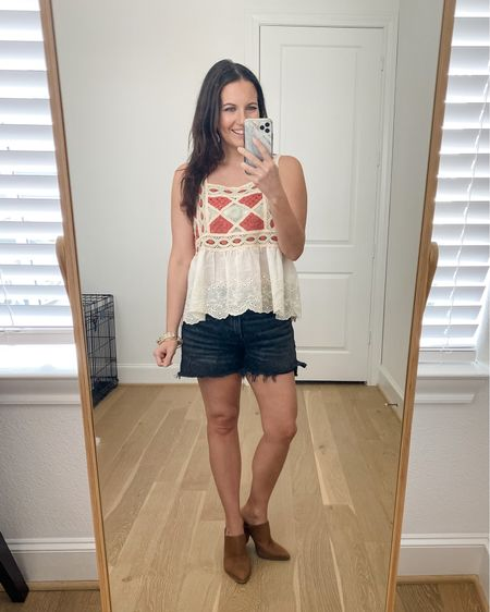 Summer outfit / crochet tank top / black cutoff jean shorts / brown mules / gold jewelry   #LTKunder50 #LTKunder100 #LTKSeasonal