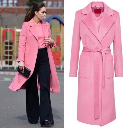 Kate wearing Max & Co pink coat #winter #wrap #wool #duster #jcrew  #LTKeurope
