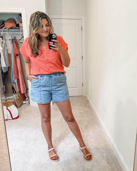 Ootd— pull on denim shorts, eyelet top, dad sandals. Size down one in the jean shorts. Everything else tts. @liketoknow.it http://liketk.it/3jjQy #liketkit #LTKstyletip #LTKunder50 #LTKunder100 @madewell #madewell @amazonfashion #amazonfashion #founditonamazon