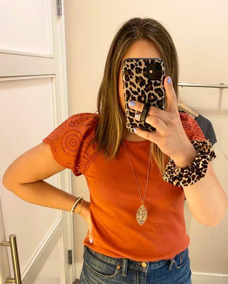 Work top. Flutter sleeve top. Cute tops. Flattering top. Burnt orange. Rust red. http://liketk.it/3fHqT #liketkit @liketoknow.it #LTKunder50 #LTKstyletip #LTKcurves