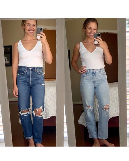 Set out to see if I found an Agolde dupe at Old Navy ($$$ vs. Linked both jeans below!  First link is the Old Navy pair and the rest are all Agolde.  Which would you lean towards? Download the LIKEtoKNOW.it shopping app to shop this pic via screenshot  http://liketk.it/3fRCb    #liketkit @liketoknow.it @liketoknow.it.brasil @liketoknow.it.europe #agolde #ltkseasonal #competition #ltkmemorialday #memorialdaysale #memorialdaysales   #LTKeurope  #LTKsalealert #LTKunder50 @liketoknow.it.family @liketoknow.it.home You can instantly shop my looks by following me on the LIKEtoKNOW.it shopping app