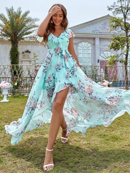 Floral Print Belted Wrap Dress from Shein $47 Chiffon lined wrap cap butterfly sleeve dress. Comes in purple, white or mint blue. Mint blue & white are ON SALE! #LTKsalealert #liketkit @shop.LTK @liketoknow.it #LTKit #liketoknowit #LTKitbag #LTKshoecrush #LTKbeauty #LTKcurves #LTKfit #LTKtravel #LTKswim #LTKworkwear #LTKwedding #LTKunder50 #LTKunder100 #LTKstyletip #shein #sheinX