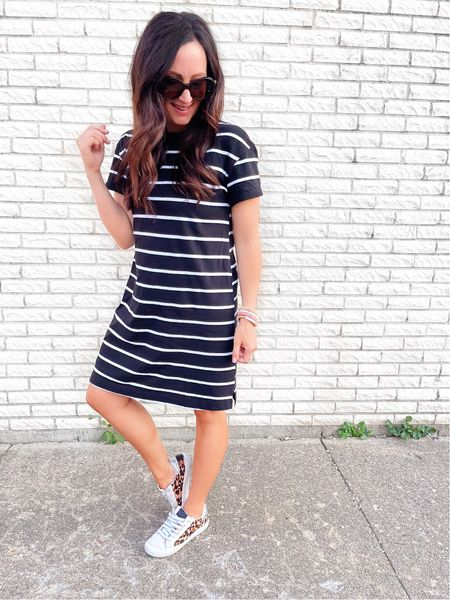 A t-shirt dress & sneakers….. a way to look cute & put together yet still comfy 🙌🏻 AKA one of my top tips for living my best mom life 🤣🤣 (#AD)   I have this $8 dress in 3 colors now and can't recommend it enough! I'll style it 3 ways for you all this weekend too so that you have some inspo on how to wear it into fall 🙌🏻 A dang good  @walmart try on is getting loaded into stories now…. Don't miss it! Happy Friday! ❤️ @walmartfashion #walmartfashion   #LTKunder50 #LTKstyletip #LTKbacktoschool