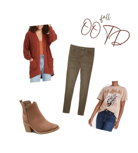 Fall casual outfits, fall band tee, Def Leppard tee, fall ankle boots, target fall outfit, American eagle Jeggings, colored jeggings, fall cardigans, rust cardigan, target style.     #LTKHoliday #LTKSeasonal #LTKshoecrush