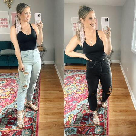 The best target jeans and the best part is both of these are $22! The black is unfortunately not online yet so I linked the blue version of these jeans. Also linked my black tank top, it's an amazon workout top, and sandals!  #LTKshoecrush #LTKfit #LTKunder50