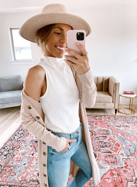 Fall hat and Gibson pieces 15% off! Code NATALIE15  Wearing small duster cardigan Xs sleeveless top 26 mother denim jeans   #LTKunder100 #LTKsalealert #LTKstyletip