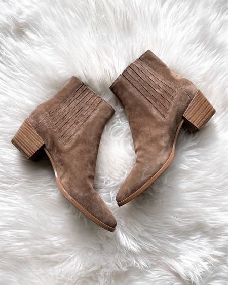 Tan suede booties, fit tts and so good for fall #booties #fallshoes  #LTKshoecrush #LTKstyletip
