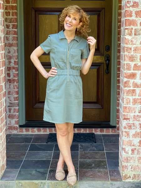 Fall dress, casual dress, JCrew dress, green dress, sage green,, cotton dress, faux suede mules, chain mules, chain link necklace, Kendra Scott necklace, Baublebar necklace, necklace stack.  This darling zip front dress is perfect for our real life weather in Dallas today with a high of 88! It's 41% off right now!I paired it with Kell Parker chain link mules. Take 15% off those with code ENB15! All fit TTS.  #LTKSeasonal #LTKshoecrush #LTKstyletip