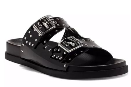 Best deal on this shoe right now. Summer sandal. Black shoe. Black sandal. Beach sandal. Sale alert. Studded sandal. Looks expensive. On sale now! Great beach shoe. Great brunch shoe.  #LTKsalealert #LTKshoecrush #LTKunder100