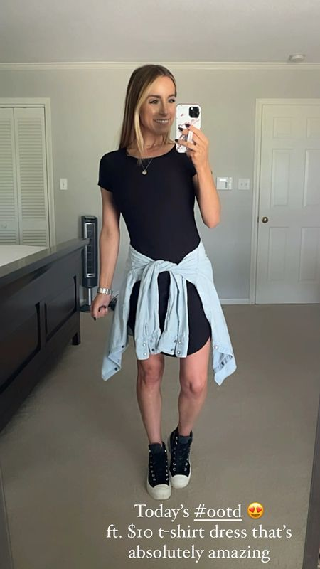 Walmart No Boundaries T Shirt Dress - only $10! Wearing a small Converse Lug Bootie    #LTKunder100 #LTKunder50 #LTKSeasonal