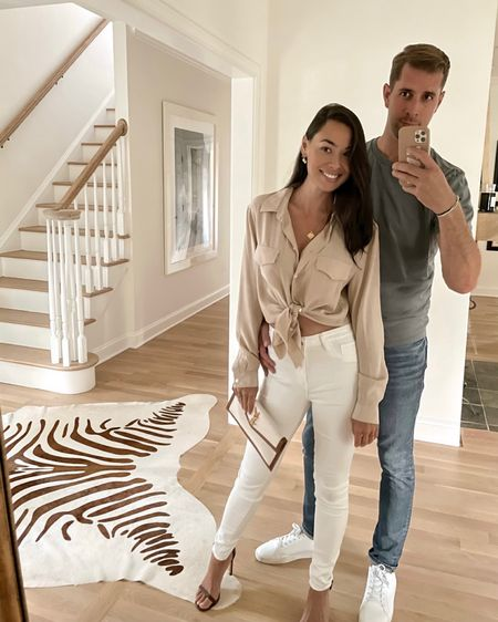 Date night outfit. Silk blouse tied with white denim and clutch. #ysl http://liketk.it/3jLCT #liketkit @liketoknow.it #LTKstyletip #LTKshoecrush #LTKitbag