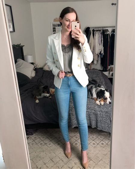http://liketk.it/3hJGy #liketkit @liketoknow.it #LTKworkwear business casual, real estate outfit, realtor outfit, jeans with blazer, white blazer, double breasted blazer, light wash jeans, tan suede heels