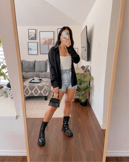 Get 15% off SHEIN with code: Q3YGJESS  Transitional style, satin button up blouse, corset top, high rise shorts, fall boots, mini bag, gold jewelry, fall outfit, fall style, fall looks   #LTKshoecrush #LTKstyletip #LTKSeasonal
