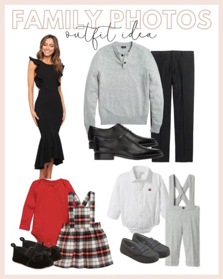 Family photo outfit ideas: black midi- length dress, little boy's suspenders, plaid little girl's dress and a men's gray sweater and men's slim dress pants for him.   #LTKHoliday #LTKfamily #LTKkids