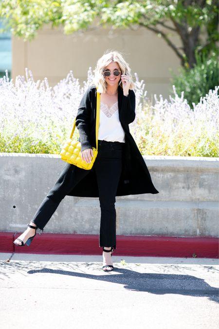 Perfect prefall style 🖤 silk camisole, black denim, black cardigan, krewe sunglasses and a bottega bag   #LTKstyletip #LTKSeasonal #LTKitbag