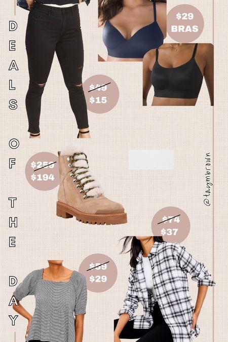 Daily deals, deals of the day  Wireless bra, combat boots, Sherpa boots, Izzie boots, flannel shirt, workwear   #LTKunder50 #LTKunder100 #LTKsalealert