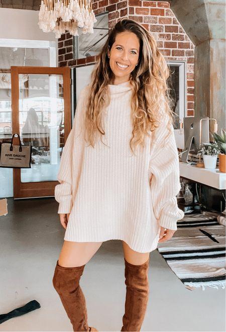 Nsale, sweater dress, oversized sweater, otk boots, Nordstrom sale   #LTKunder100 #LTKsalealert #LTKshoecrush