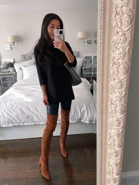 Petite friendly over the knee boots // Nordstrom Anniversary Sale   •Steve Madden OTK boots size 5.5 - slim / narrow calf friendly!  •Commando 7/8 faux leather leggings Xs •French connection ribbed sweater (old) Similar ottoman sweaters linked   #petite #NSale   #LTKshoecrush #LTKsalealert #liketkit @liketoknow.it http://liketk.it/3jSkC