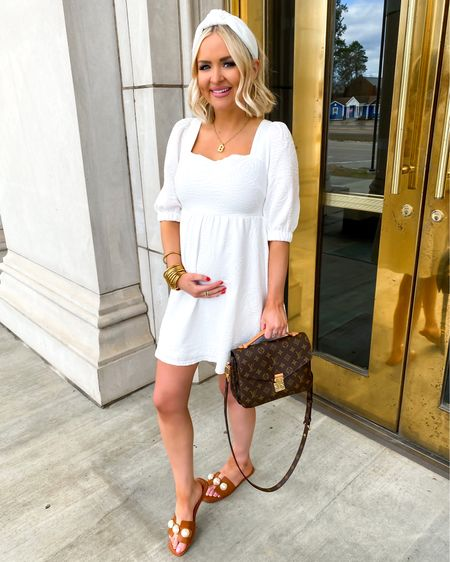 White dress under $50 + I tagged a few more white dresses I love! Styled with a headband and pearl slide sandals for $23  http://liketk.it/3azZs @liketoknow.it #liketkit #LTKunder50 #LTKSeasonal #LTKwedding