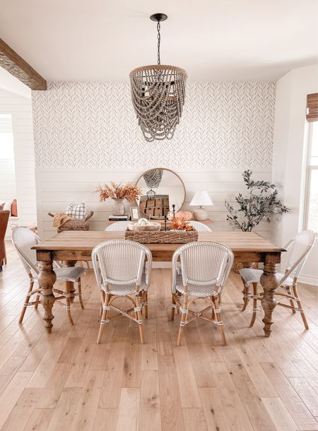 Fall dining room! Dining chairs are from Anthropologie and the dining table is arhaus    #LTKhome #LTKunder100 #LTKSeasonal