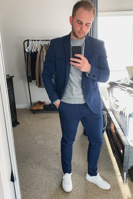 This crew neck sweater and blue suit look is for sure my favorite. If you're looking for a way to dress up sneakers this is the way to do it! This is a super cheap outfit that looks way more expensive than it actually is.  http://liketk.it/2MY6X #liketkit #LTKunder50 #LTKmens #LTKstyletip @liketoknow.it