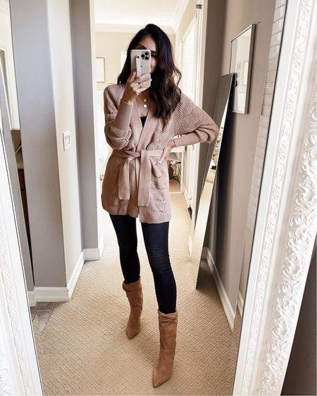 Wearing a size extra small cardigan, fall style, express style, jeans, booties, StylinByAylin   #LTKSeasonal #LTKunder100 #LTKstyletip
