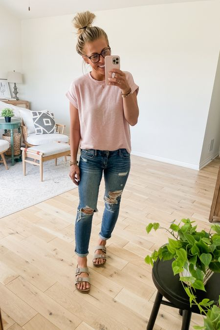 My pink t-shirt is on sale for $9 today. Wearing size small here. Jeans are on sale too, fit is true to size. http://liketk.it/3ijng #liketkit @liketoknow.it #LTKunder50 #LTKsalealert #LTKstyletip