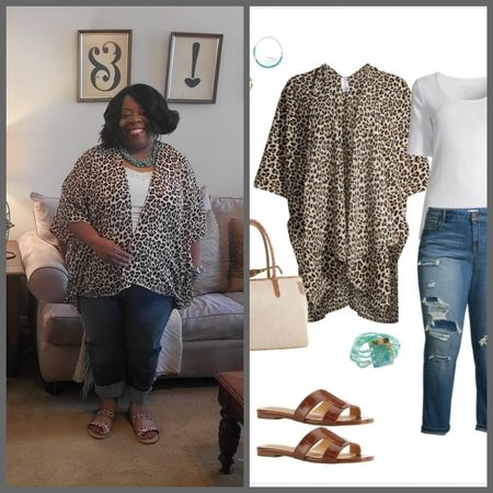 http://liketk.it/3gTJS @liketoknow.it #liketkit #LTKcurves #LTKstyletip #LTKunder50  Taking a walk on the wild side in this fantastic animal print caftan wrap, animal strappy sandal, white tee and cropped jeans. Classic, chic and comfortable. Download the LIKEtoKNOW.it app to shop this pic via screenshot