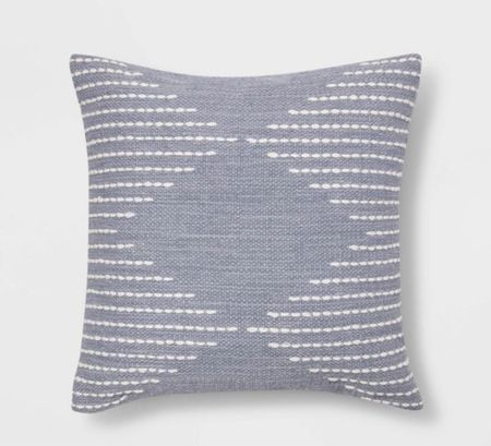 Modern Stitched Square Throw Pillow with geometric design.   The blue is perfect for a coastal modern vibe. French blue pillow.   Blue embroidered pillows.  #LTKhome #LTKunder50 #LTKstyletip