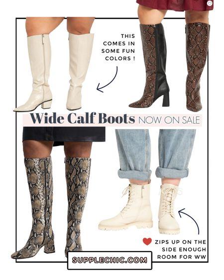 Wide width + Wide calf boots white boots snakeskin boots combat boots #plussize  #LTKsalealert #LTKcurves #LTKSeasonal