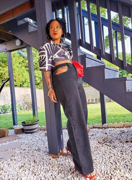 Mules  Clutch  Jeans  Denim  straight leg jeans  Cut outs  Nastygal  Sbein  Amazon  crop top  Button down  black  white  red  #LTKunder50 #LTKunder100 #LTKsalealert