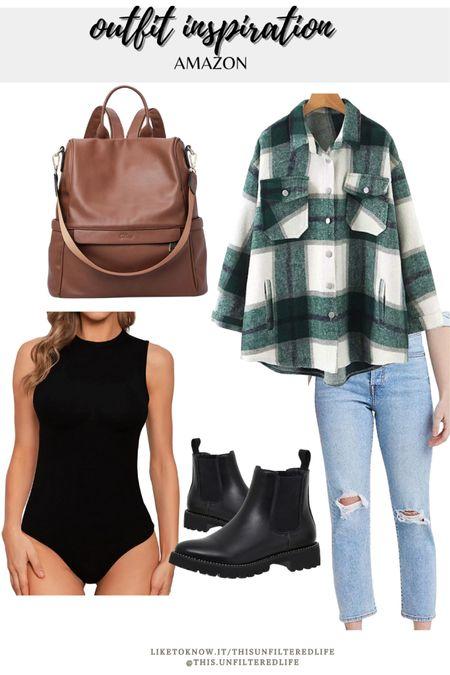 Amazon outfit inspiration for a casual outfit #BoyfriendJeans #BodySuits #Shacket #BackpackPurse #ChelseaBoots #AmazonFinds #AmazonFashion   #LTKunder50 #LTKstyletip #LTKSeasonal