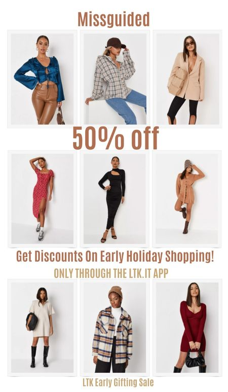 Get discounts on early holiday shopping with the LTK Early Gifting Sale! Get 50% off sitewide at Missguided. Plaid flannel jacket, LBD, black dress, sweater dress, blazer, satin top.   #LTKDay #LTKSale #LTKunder50