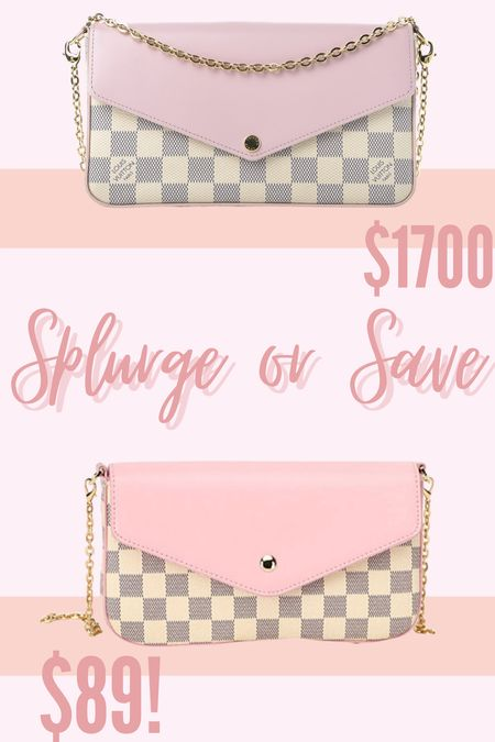 Spurge or Save: LV EDITION! Love the white checkered pattern and the pink accent on my LV, but this inspired option looks so similar for so much less! #louisvuitton #purse #inspired #dupe #goodnightmacaroon    #LTKSale #LTKunder100 #LTKitbag
