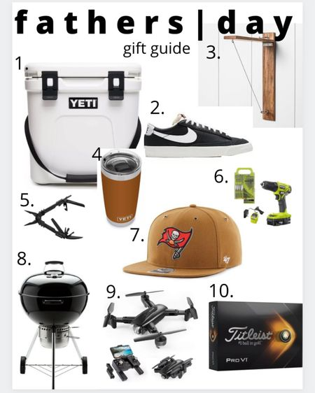 With a little help from my husband we came up with this Father's Day gift guide! 1.) Yeti roadie cooler  2.) simple Nike shoes that could be worn dressed up or hair casually  3.) outdoor hook game! My FIL and BIL have this and we always have fun playing this out on the patio  4.) yeti tumbler  5.) Gerber multi tool. This thing is so cool and every man should have it 6.) power drill  7.) obsessed with this carhartt collection from '47! They have most teams available and they also have beanies  8.) charcoal grill! We prefer charcoal over gas  9.) drone 10.) new golf balls http://liketk.it/3gOZp #liketkit @liketoknow.it #LTKmens #LTKunder100 #LTKfamily